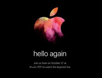 Apple keynote van 27 oktober aangekondigd